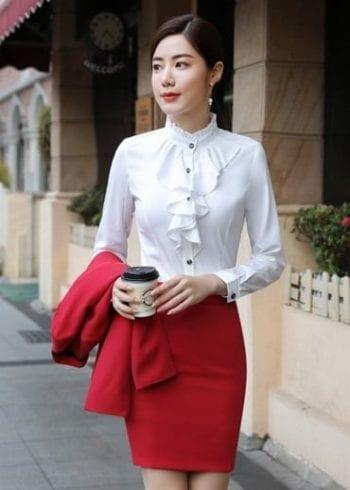 เสื้อเชิ้ตทำงานสีขาวแต่งระบาย