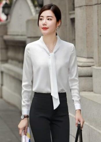 เสื้อทำงานแขนยาวสีขาวแต่งโบว์