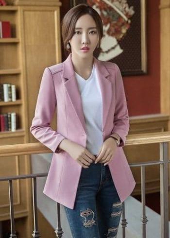 เสื้อสูททรงยาวปกป้านสีชมพู